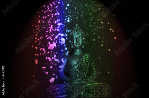 Stampa su Tela Imagen de Buda con polvo de colores