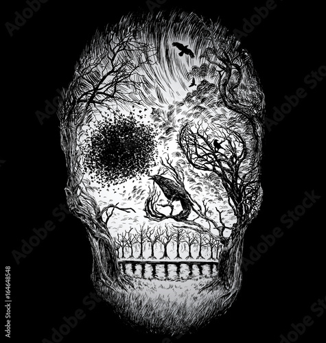 Hand Drawn Abstract Skull Made from Trees and foliage