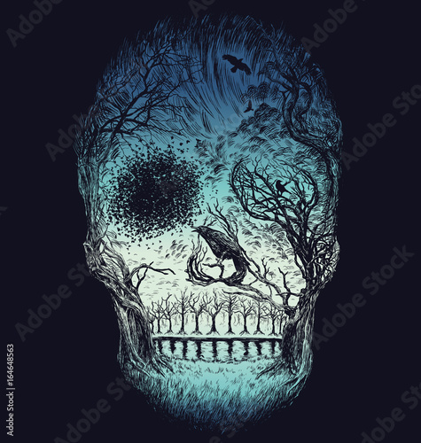 Hand Drawn Abstract Skull Made from Trees and foliage in color
