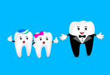 Funny cartoon teeth character in suit talking with little teeth. Dental care concept. Illustration isolated on blue background. - 164650528