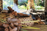 A traditional Samoan cooking area inside a hut with woven baskets and coconuts ready to prepare. - 164656199