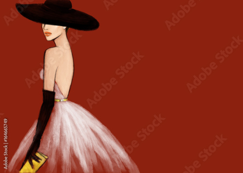woman in elegant dress. fashion illustration