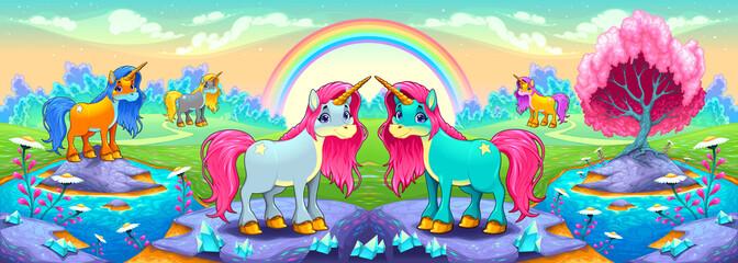 Happy unicorns in a landscape of dreams