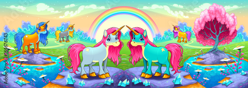 Happy unicorns in a landscape of dreams - 164676743