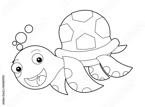 Cartoon happy and funny sea turtle swimming - with coloring page - illustration for children