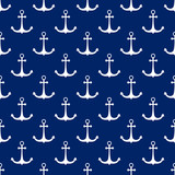 Seamless Travel Pattern with White Anchor , Sea Tourism Concept , Vector Illustration