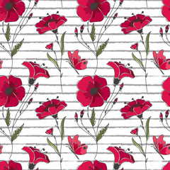 Vector floral seamless pattern. Colorful floral pattern with red poppies on striped background.