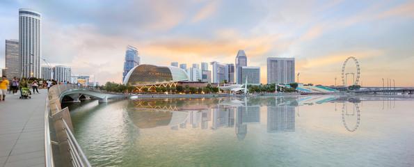 central Singapore skyline at dusk