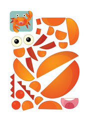 cartoon character puzzle - isolated crab - illustration for children
