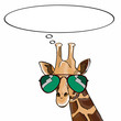 Giraffe head and sunglasses and thinking balloon - 164708334
