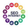 SEO design with web icons.