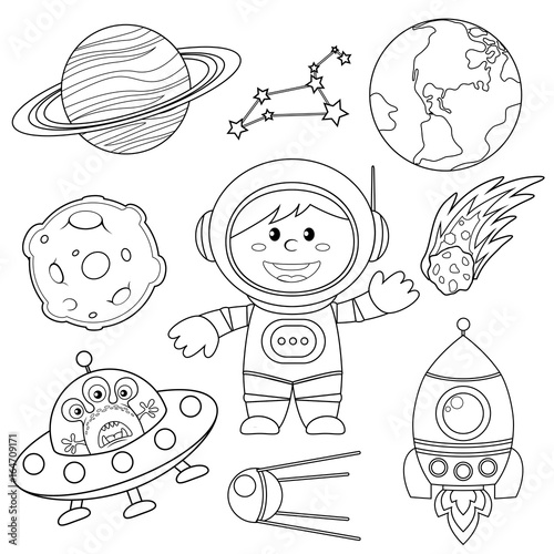 Set of space elements. Astronaut, Earth, saturn, moon, UFO, rocket, comet, constellation, sputnik and stars. Black and white illustration for coloring book