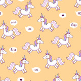Unicorns . Vector illustration. Seamless pattern. Rainbow unicorns on colorful background. Cute wallpaper.