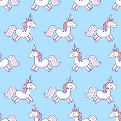 Unicorns . Vector illustration. Seamless pattern. Rainbow unicorns on colorful background. Cute wallpaper.