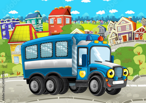 happy and funny cartoon police truck looking and smiling driving through the city - illustration for children - 164709912