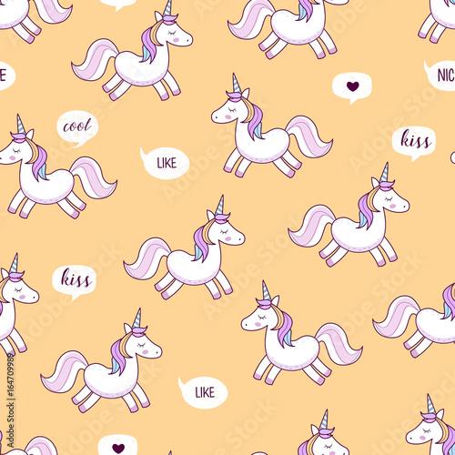 Fototapeta Unicorns . Vector illustration. Seamless pattern. Rainbow unicorns on colorful background. Cute wallpaper.