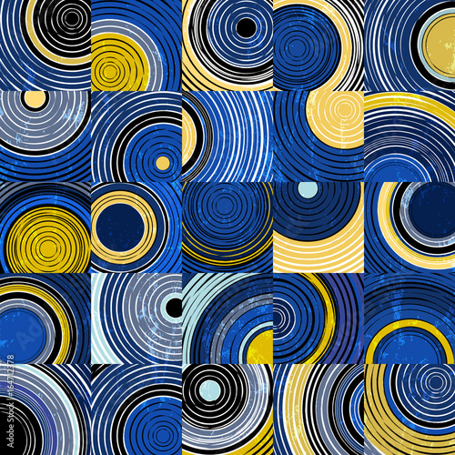 Aluminium Abstract met Penseelstreken background pattern with circles, squares, strokes and splashes,vector