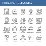 Set of thin line flat icons. Business - 164712711