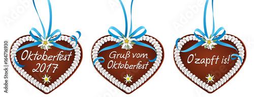 Lebkuchen Set mit blauer Schleife und Edelweiß - Oktoberfest 2017, Gruß vom Oktoberfest, O'zapft is!