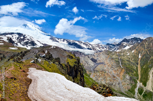 A beautiful mountain landscape. View of the highest peak of Europe - Mount Elbrus and the Glacier Gara Bashi