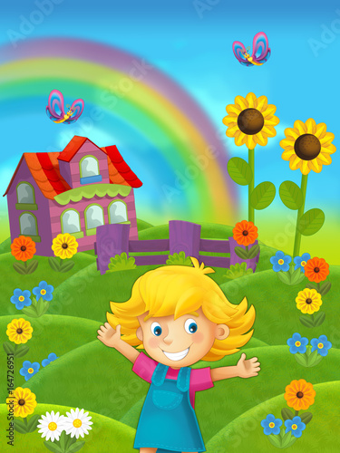 cartoon scene of girl on the farm with house in the background - standing and smiling / illustration for children - 164726951