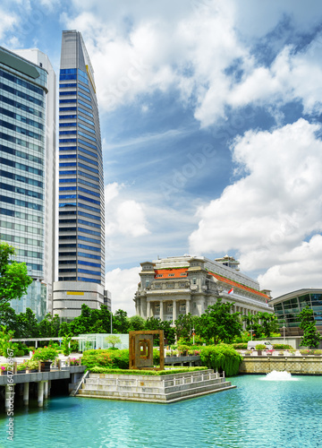 View of skyscrapers and old colonial building of Singapore Poster