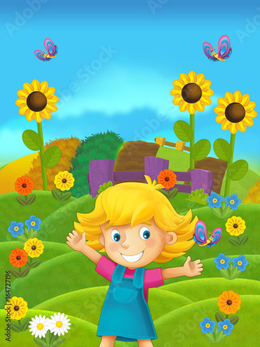 cartoon scene of girl on the farm - standing and smiling / illustration for children - 164727196