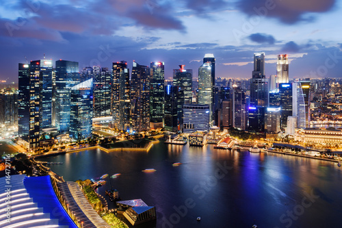 Fantastic night view of skyscrapers at downtown of Singapore Poster