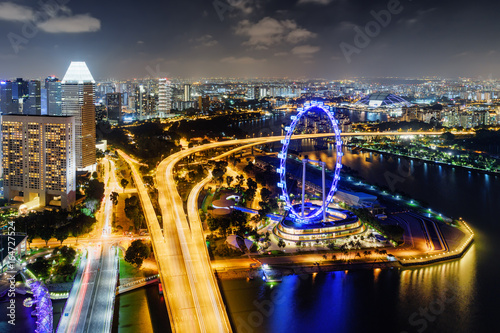 Top view of Bayfront Avenue and giant Ferris wheel, Singapore