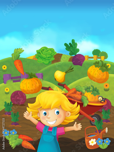 cartoon scene of girl on the farm - standing and smiling / illustration for children - 164727533