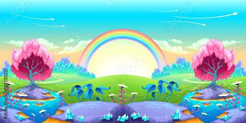 Foto op Canvas Kinderkamer Landscape of dreams with rainbow