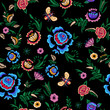 Embroidery seamless pattern with fantasy simplify flowers. Vector embroidered floral patch for clothing design. - 164730762