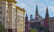 Untypical view of Moscow Kremlin and city centre from top of Tverskaya street