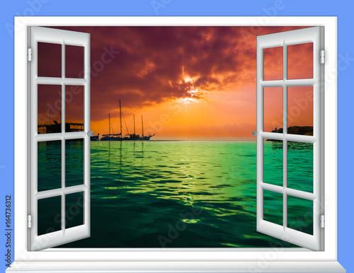 window cloud sun
