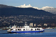 Vancouver Harbor Ferry Snowy Two Lions Mountains British Columbia