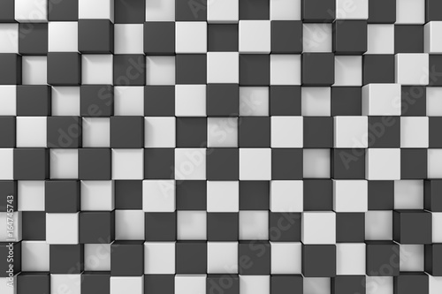 Black and white cubes background. 3d rendering.