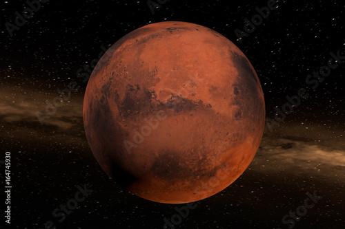 Fototapeta Der Mars im Weltall. Der Planet füllt die Mitte des Bildes. Im Hintergrund ein Nebel. Erstellt in 3D. Texturen der NASA