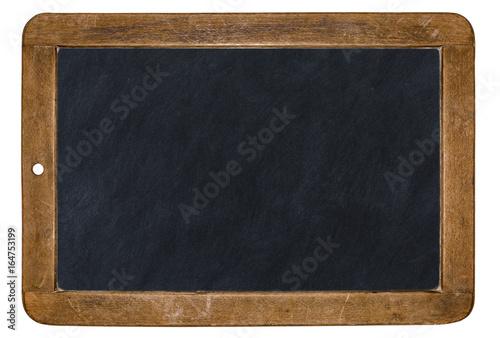 Leinwandbild Motiv alte Kreidetafel isoliert auf weißem Hintergrund