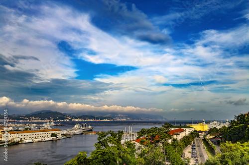 Italy. La Spezia, the capital city of the provinze of La Spezia. Gulf of La Spezia - military and commercial harbours