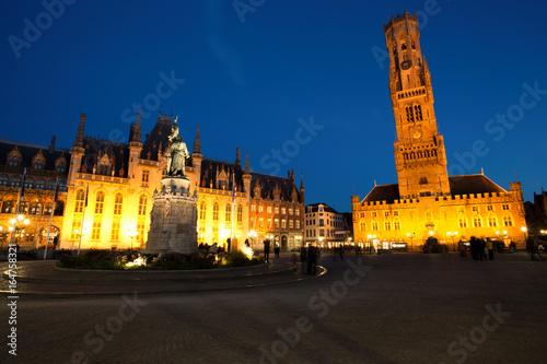 Grote Markt Square in Medieval City Brugge at Dusk, Belgium