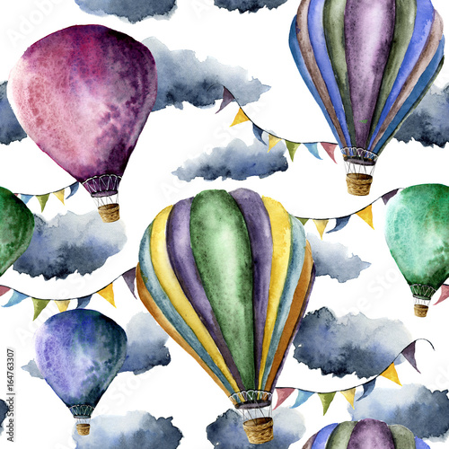 Watercolor pattern with hot air balloons and clouds. Hand drawn air balloons with flags garlands, clouds and retro design. Illustrations isolated on white background - 164763307