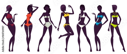 Women silhouettes, colorful swimwear and bikinis