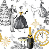 Watercolor seamless pattern in retro gold style. Beautiful couple, bottle of Champagne, glasses, Greyhound dogs, jewellery clock and celebrate accessories. Vintage New Year illustration. - 164766718