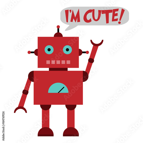 Vector illustration of a toy Robot and text I'M CUTE !