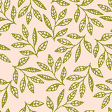 Floral seamless pattern with hand drawn green branches and leaves on pink background. Vector illustration. - 164769760