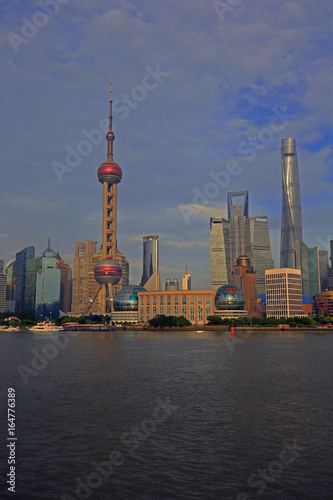 The Oriental pearl tower, Shanghai world financial center jinmao tower and the Shanghai skyline