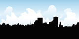 Skyline silhouette vector illustration of the downtown of the city of Rochester, New York, USA.