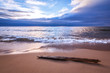 Tranquil Sea with Driftwood. Gentle wave motion on a bright sandy beach. Seascape background with gorgeous copy space.