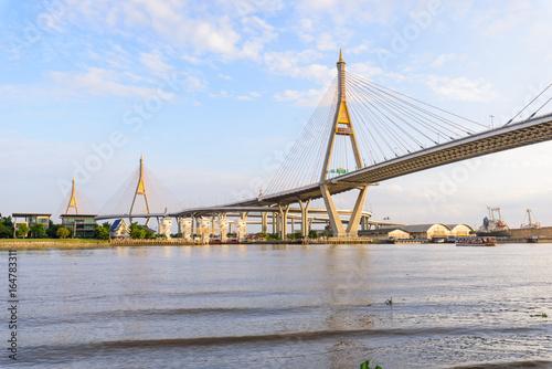 Poster Beautiful Big Bhumibol Bridge / Big bridge at the river