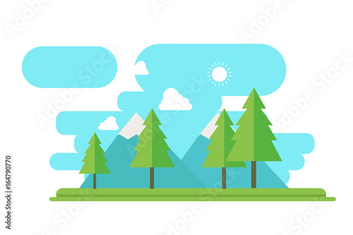 Nature landscape with forest and mountain in flat style vector.